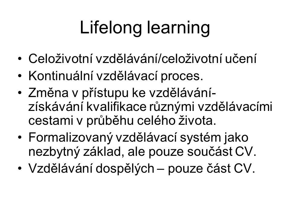 V rámci celoživotního učení rozlišujeme: Počáteční vzdělávání (až po ISCED 5,6) Další vzdělávání => Formální vzdělávání Neformální vzdělávání Informální učení