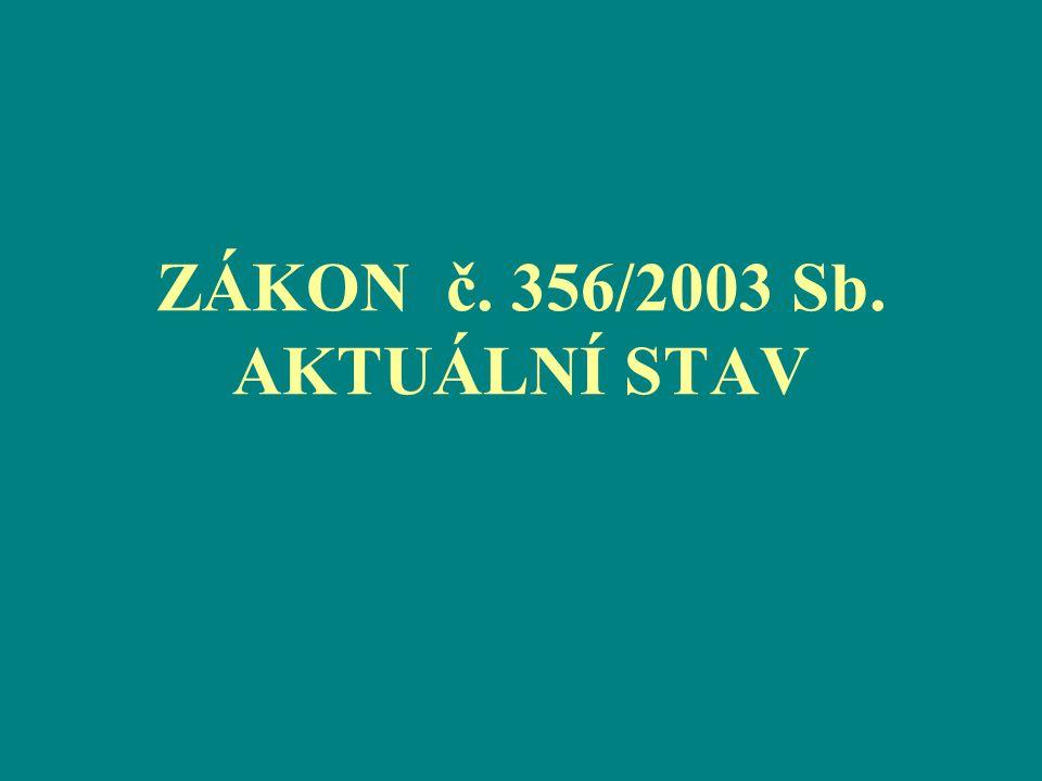 ZÁKON č. 356/2003 Sb. AKTUÁLNÍ STAV