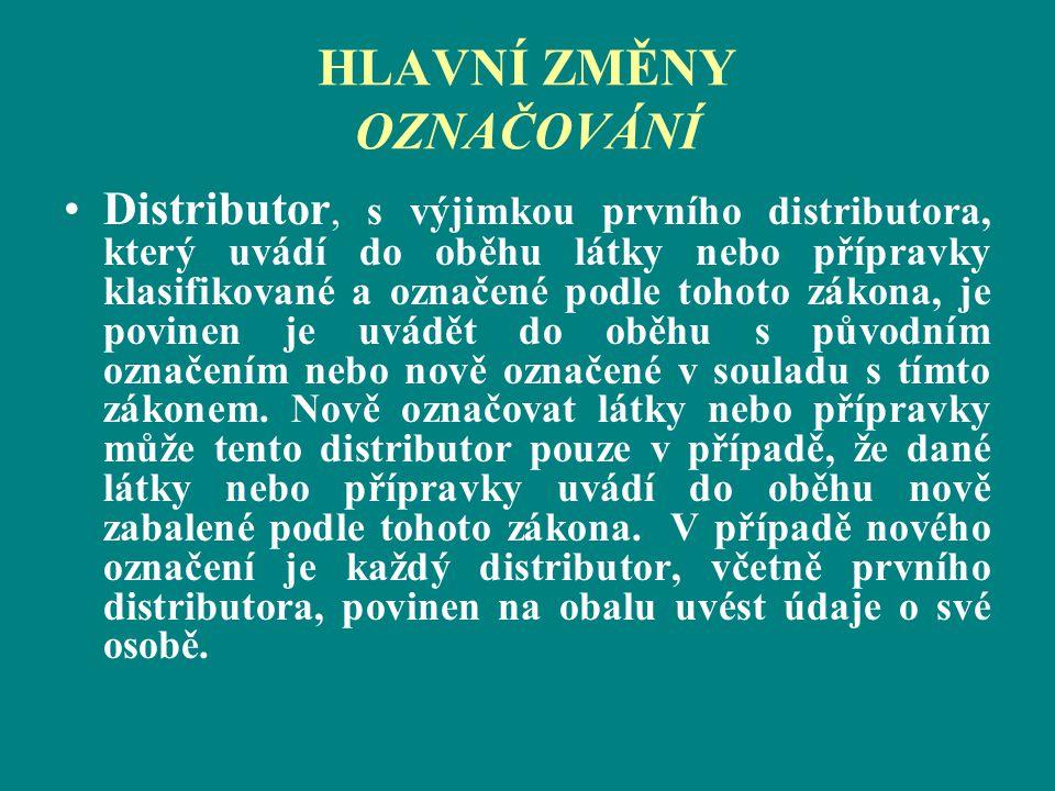 HLAVNÍ ZMĚNY OZNAČOVÁNÍ Distributor, s výjimkou prvního distributora, který uvádí do oběhu látky nebo přípravky klasifikované a označené podle tohoto
