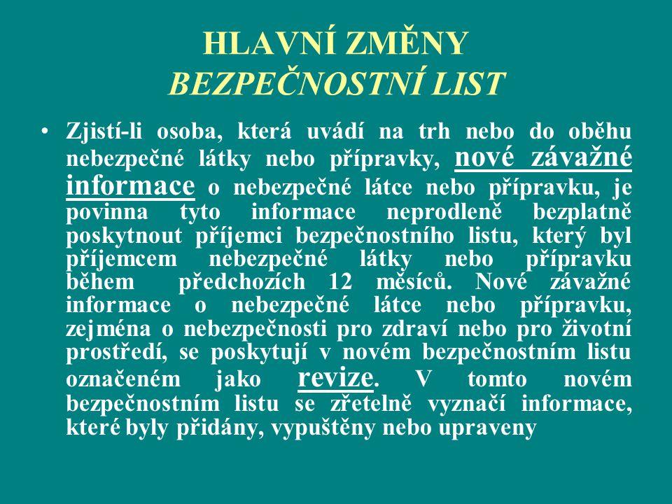 HLAVNÍ ZMĚNY BEZPEČNOSTNÍ LIST Zjistí-li osoba, která uvádí na trh nebo do oběhu nebezpečné látky nebo přípravky, nové závažné informace o nebezpečné