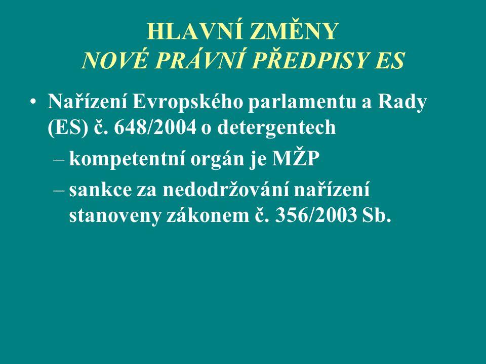 HLAVNÍ ZMĚNY NOVÉ PRÁVNÍ PŘEDPISY ES Nařízení Evropského parlamentu a Rady (ES) č. 648/2004 o detergentech –kompetentní orgán je MŽP –sankce za nedodr