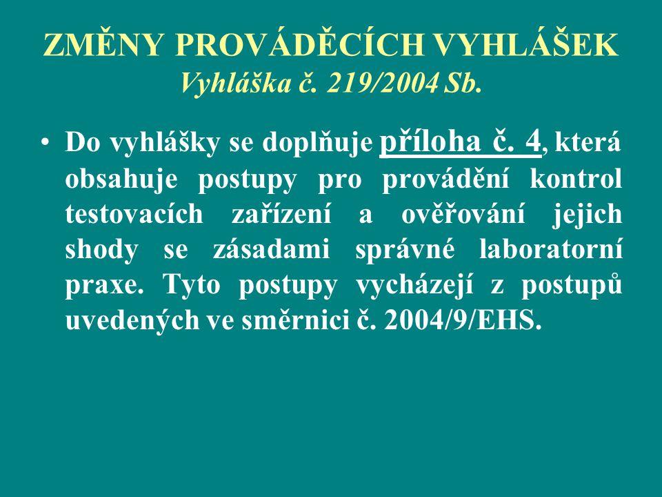 ZMĚNY PROVÁDĚCÍCH VYHLÁŠEK Vyhláška č. 219/2004 Sb. Do vyhlášky se doplňuje příloha č. 4, která obsahuje postupy pro provádění kontrol testovacích zař