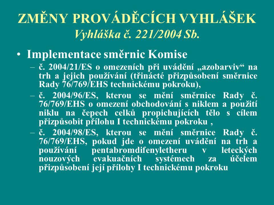 """ZMĚNY PROVÁDĚCÍCH VYHLÁŠEK Vyhláška č. 221/2004 Sb. Implementace směrnic Komise –č. 2004/21/ES o omezeních při uvádění """"azobarviv"""" na trh a jejich pou"""