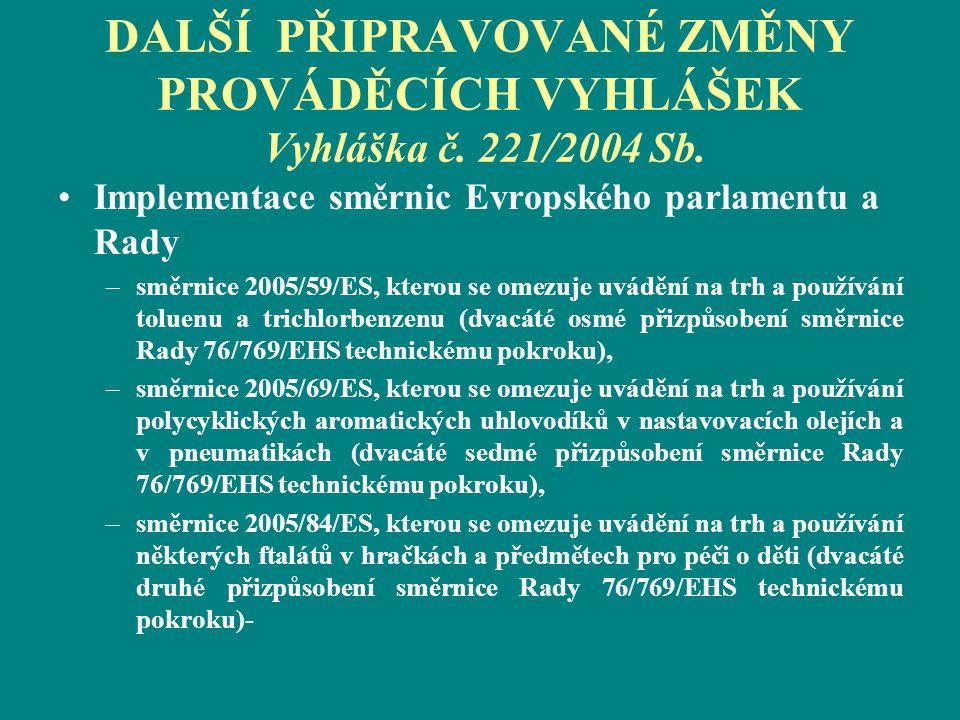 DALŠÍ PŘIPRAVOVANÉ ZMĚNY PROVÁDĚCÍCH VYHLÁŠEK Vyhláška č. 221/2004 Sb. Implementace směrnic Evropského parlamentu a Rady –směrnice 2005/59/ES, kterou