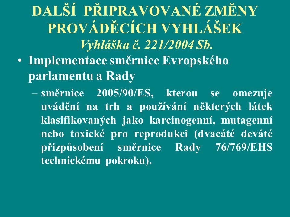 DALŠÍ PŘIPRAVOVANÉ ZMĚNY PROVÁDĚCÍCH VYHLÁŠEK Vyhláška č. 221/2004 Sb. Implementace směrnice Evropského parlamentu a Rady –směrnice 2005/90/ES, kterou
