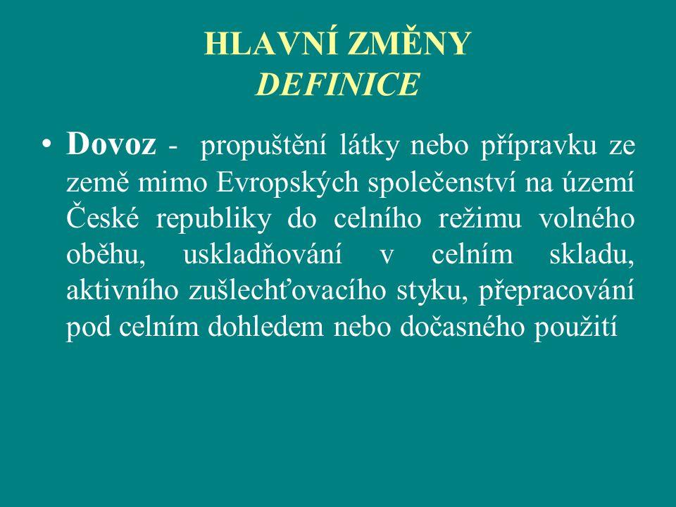 HLAVNÍ ZMĚNY DEFINICE Dovoz - propuštění látky nebo přípravku ze země mimo Evropských společenství na území České republiky do celního režimu volného