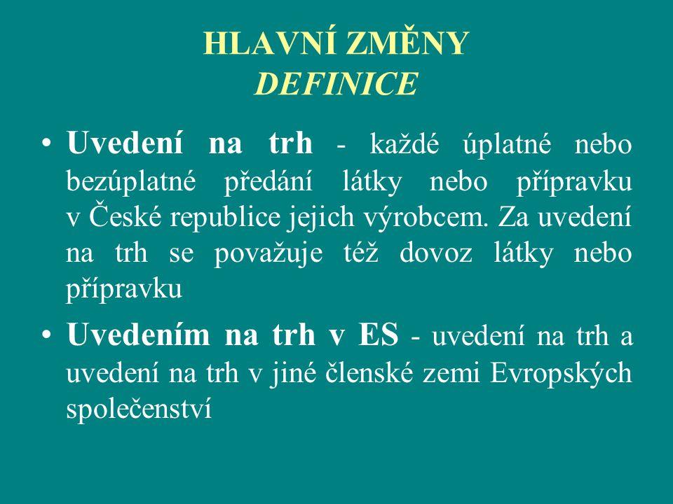 HLAVNÍ ZMĚNY DEFINICE Uvedení na trh - každé úplatné nebo bezúplatné předání látky nebo přípravku v České republice jejich výrobcem. Za uvedení na trh