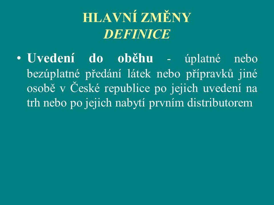 HLAVNÍ ZMĚNY DEFINICE Uvedení do oběhu - úplatné nebo bezúplatné předání látek nebo přípravků jiné osobě v České republice po jejich uvedení na trh ne