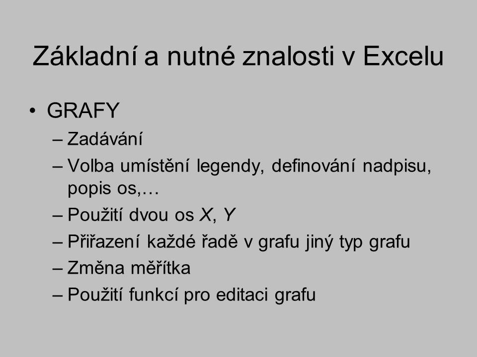 Základní a nutné znalosti v Excelu GRAFY –Zadávání –Volba umístění legendy, definování nadpisu, popis os,… –Použití dvou os X, Y –Přiřazení každé řadě v grafu jiný typ grafu –Změna měřítka –Použití funkcí pro editaci grafu