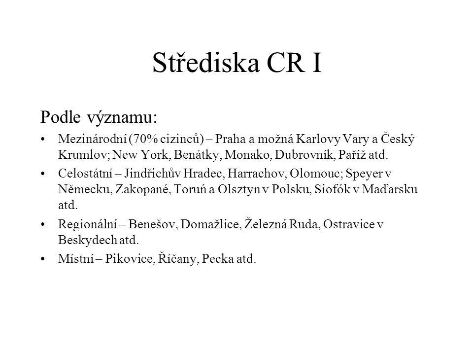 Střediska CR I Podle významu: Mezinárodní (70% cizinců) – Praha a možná Karlovy Vary a Český Krumlov; New York, Benátky, Monako, Dubrovník, Paříž atd.