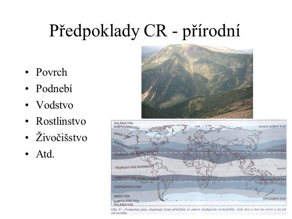 Předpoklady CR - přírodní Povrch Podnebí Vodstvo Rostlinstvo Živočišstvo Atd.
