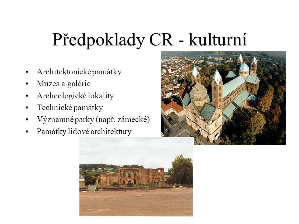 Předpoklady CR - kulturní Architektonické památky Muzea a galérie Archeologické lokality Technické památky Významné parky (např. zámecké) Památky lido
