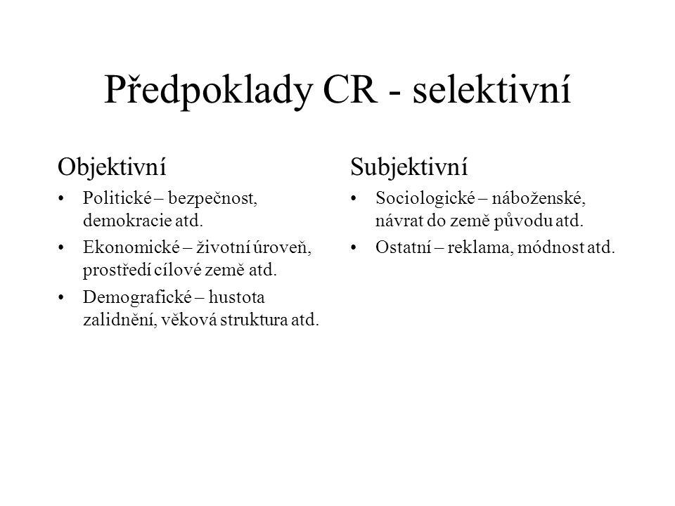 Předpoklady CR - selektivní Objektivní Politické – bezpečnost, demokracie atd. Ekonomické – životní úroveň, prostředí cílové země atd. Demografické –