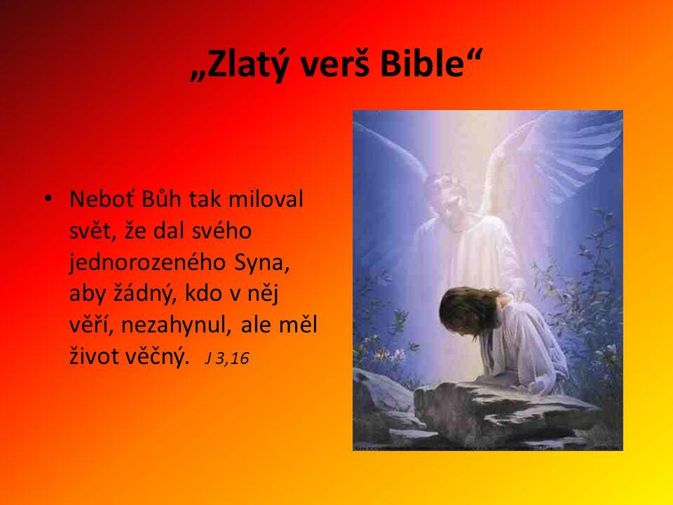 """""""Zlatý verš Bible"""" Neboť Bůh tak miloval svět, že dal svého jednorozeného Syna, aby žádný, kdo v něj věří, nezahynul, ale měl život věčný. J 3,16"""