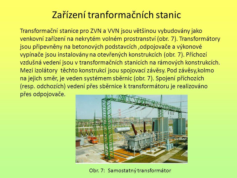Zařízení tranformačních stanic Transformační stanice pro ZVN a VVN jsou většinou vybudovány jako venkovní zařízení na nekrytém volném prostranství (ob