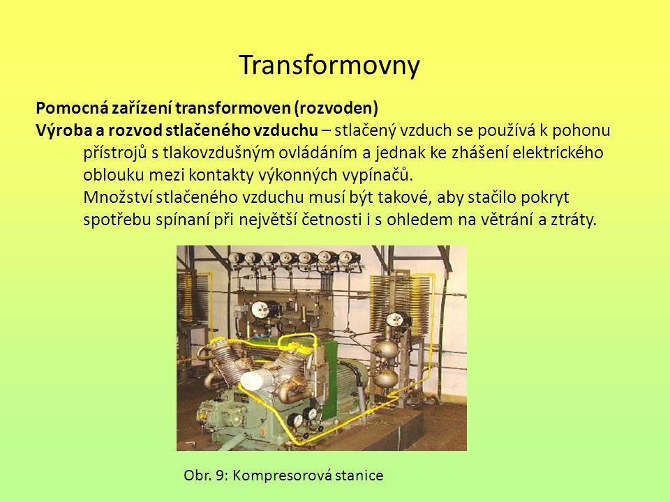 Transformovny Pomocná zařízení transformoven (rozvoden) Výroba a rozvod stlačeného vzduchu – stlačený vzduch se používá k pohonu přístrojů s tlakovzdu