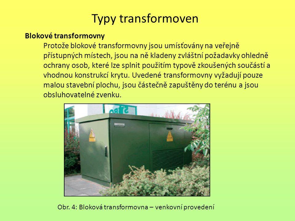 Typy transformoven Blokové transformovny Z hlediska použití blokových transformoven je možné je rozdělit na distribuční a odběratelské nebo jejich kombinaci.