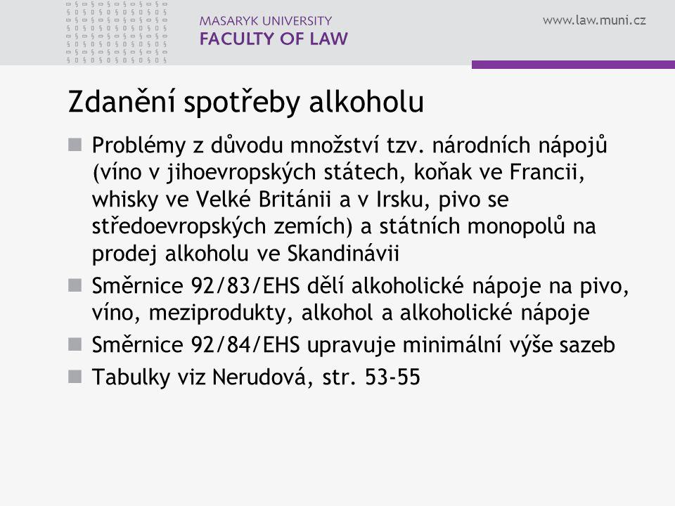 www.law.muni.cz Zdanění spotřeby alkoholu Problémy z důvodu množství tzv. národních nápojů (víno v jihoevropských státech, koňak ve Francii, whisky ve