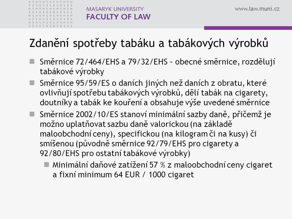 www.law.muni.cz Zdanění spotřeby tabáku a tabákových výrobků Směrnice 72/464/EHS a 79/32/EHS – obecné směrnice, rozdělují tabákové výrobky Směrnice 95