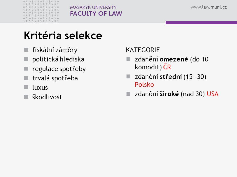 www.law.muni.cz Kritéria selekce fiskální záměry politická hlediska regulace spotřeby trvalá spotřeba luxus škodlivost KATEGORIE zdanění omezené (do 1