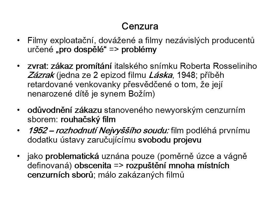 """Cenzura Filmy exploatační, dovážené a filmy nezávislých producentů určené """"pro dospělé"""" => problémy zvrat: zákaz promítání italského snímku Roberta Ro"""