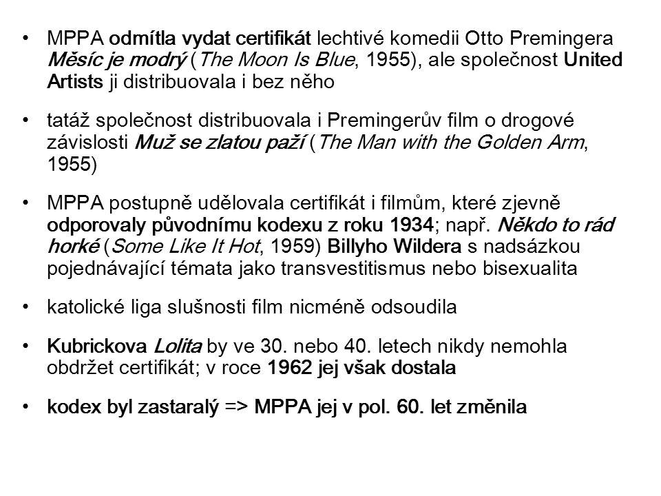 MPPA odmítla vydat certifikát lechtivé komedii Otto Premingera Měsíc je modrý (The Moon Is Blue, 1955), ale společnost United Artists ji distribuovala i bez něho tatáž společnost distribuovala i Premingerův film o drogové závislosti Muž se zlatou paží (The Man with the Golden Arm, 1955) MPPA postupně udělovala certifikát i filmům, které zjevně odporovaly původnímu kodexu z roku 1934; např.