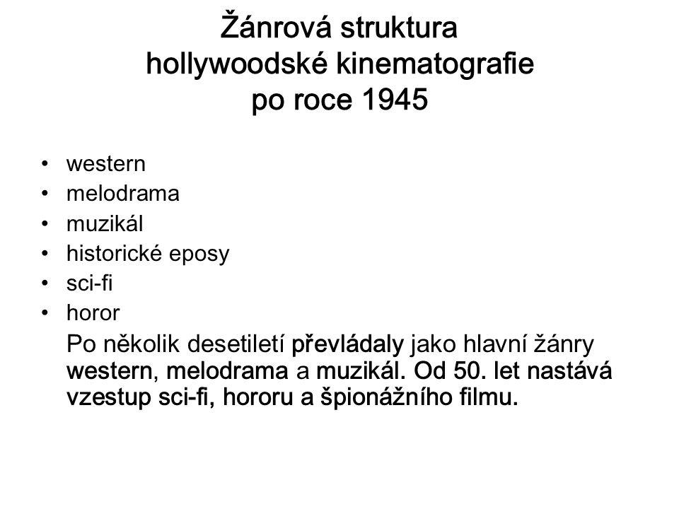 Žánrová struktura hollywoodské kinematografie po roce 1945 western melodrama muzikál historické eposy sci-fi horor Po několik desetiletí převládaly jako hlavní žánry western, melodrama a muzikál.