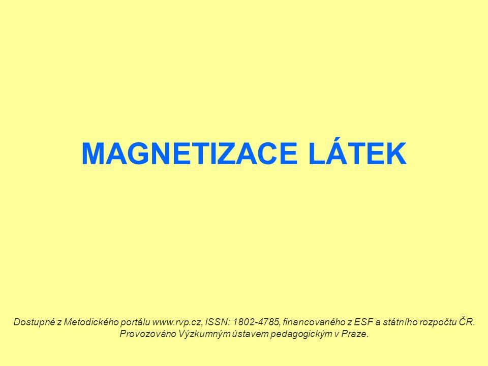 Ukázka pokusu: Vložíme těleso z feromagnetické látky do magnetického pole.