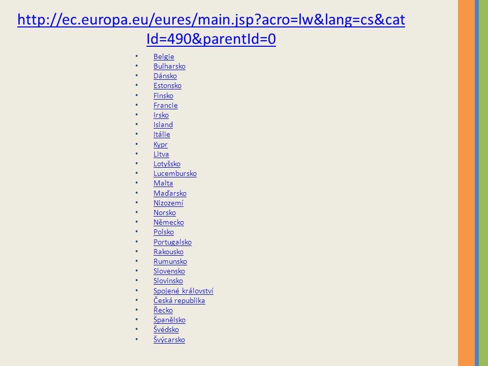 http://ec.europa.eu/eures/main.jsp?acro=lw&lang=cs&cat Id=490&parentId=0 Belgie Bulharsko Dánsko Estonsko Finsko Francie Irsko Island Itálie Kypr Litva Lotyšsko Lucembursko Malta Maďarsko Nizozemí Norsko Německo Polsko Portugalsko Rakousko Rumunsko Slovensko Slovinsko Spojené království Česká republika Řecko Španělsko Švédsko Švýcarsko