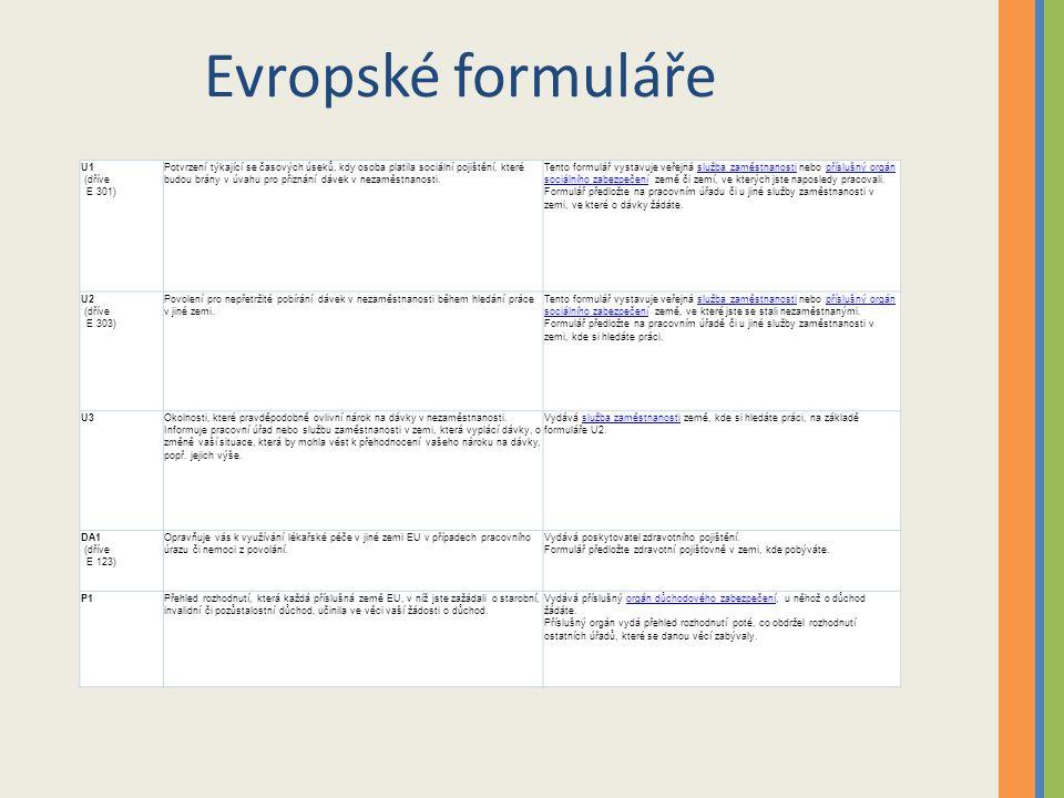 Evropské formuláře U1 (dříve E 301) Potvrzení týkající se časových úseků, kdy osoba platila sociální pojištění, které budou brány v úvahu pro přiznání dávek v nezaměstnanosti.