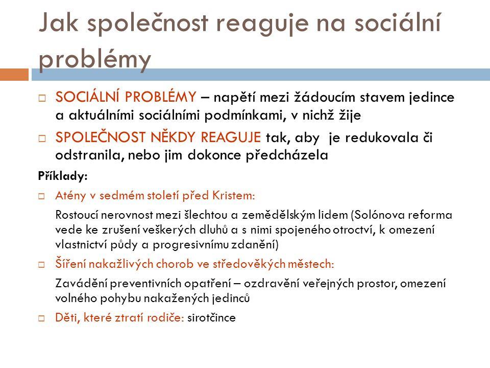 Jak společnost reaguje na sociální problémy  SOCIÁLNÍ PROBLÉMY – napětí mezi žádoucím stavem jedince a aktuálními sociálními podmínkami, v nichž žije