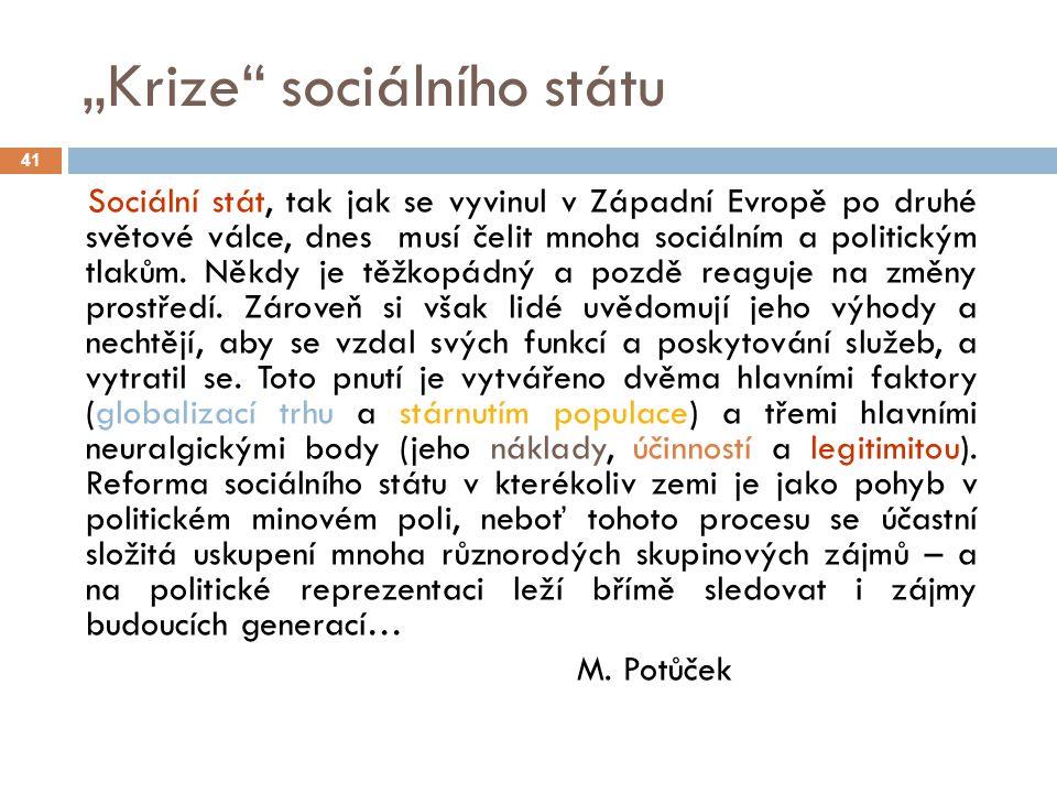 """""""Krize"""" sociálního státu 41 Sociální stát, tak jak se vyvinul v Západní Evropě po druhé světové válce, dnes musí čelit mnoha sociálním a politickým tl"""