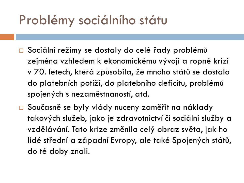 Problémy sociálního státu  Sociální režimy se dostaly do celé řady problémů zejména vzhledem k ekonomickému vývoji a ropné krizi v 70. letech, která