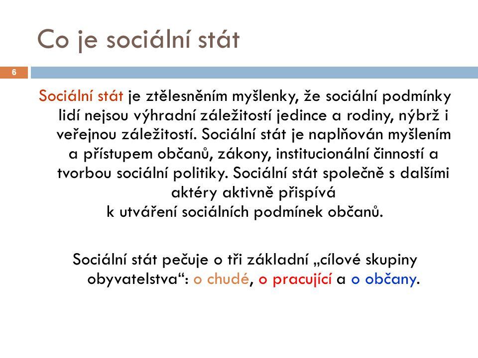 Co je sociální stát 6 Sociální stát je ztělesněním myšlenky, že sociální podmínky lidí nejsou výhradní záležitostí jedince a rodiny, nýbrž i veřejnou