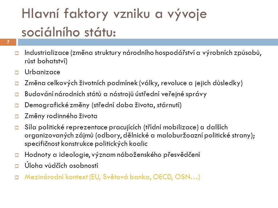 Hlavní faktory vzniku a vývoje sociálního státu: 7  Industrializace (změna struktury národního hospodářství a výrobních způsobů, růst bohatství)  Ur