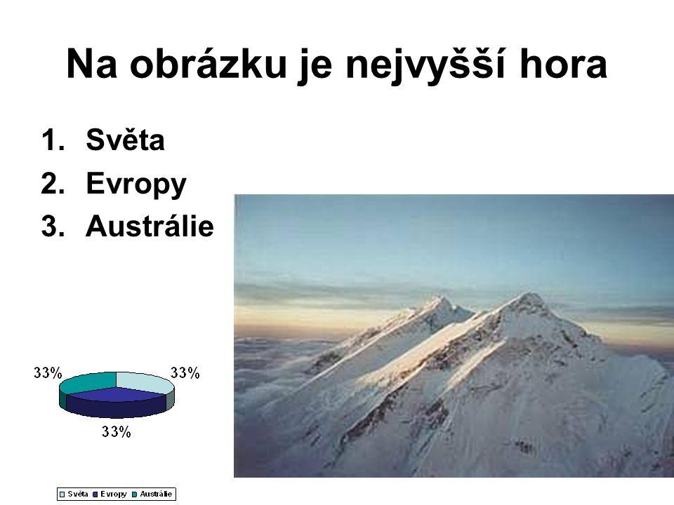 Na obrázku je nejvyšší hora 1.Světa 2.Evropy 3.Austrálie