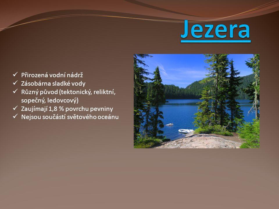 Přirozená vodní nádrž Zásobárna sladké vody Různý původ (tektonický, reliktní, sopečný, ledovcový) Zaujímají 1,8 % povrchu pevniny Nejsou součástí svě