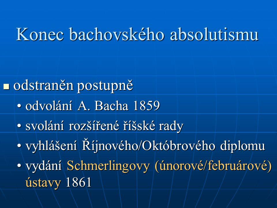 Konec bachovského absolutismu odstraněn postupně odstraněn postupně odvolání A. Bacha 1859odvolání A. Bacha 1859 svolání rozšířené říšské radysvolání