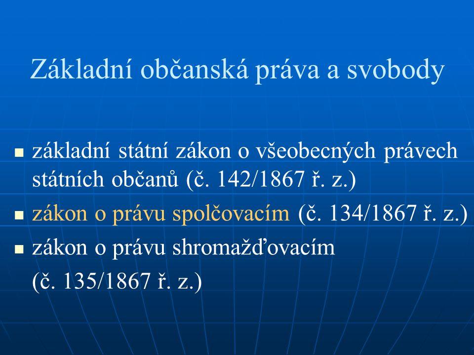 Základní občanská práva a svobody základní státní zákon o všeobecných právech státních občanů (č. 142/1867 ř. z.) zákon o právu spolčovacím (č. 134/18