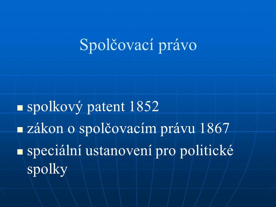 Spolčovací právo spolkový patent 1852 zákon o spolčovacím právu 1867 speciální ustanovení pro politické spolky