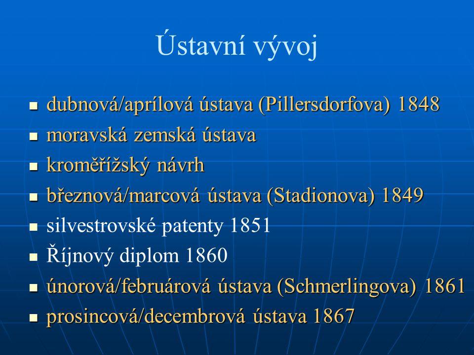 Ústavní vývoj dubnová/aprílová ústava (Pillersdorfova) 1848 dubnová/aprílová ústava (Pillersdorfova) 1848 moravská zemská ústava moravská zemská ústav