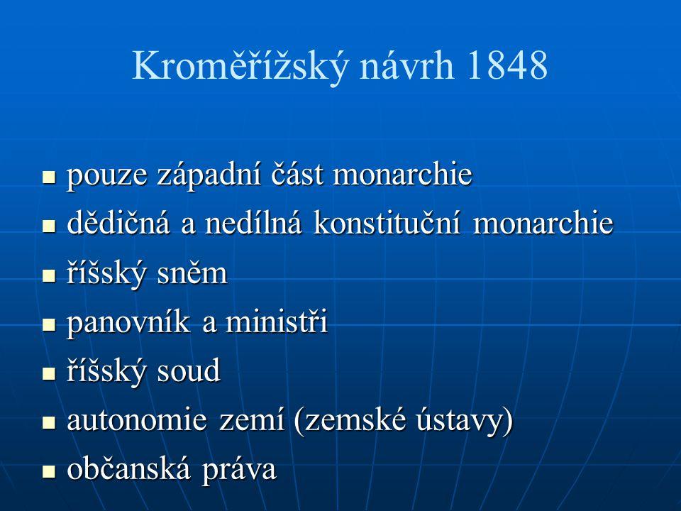 Kroměřížský návrh 1848 pouze západní část monarchie pouze západní část monarchie dědičná a nedílná konstituční monarchie dědičná a nedílná konstituční