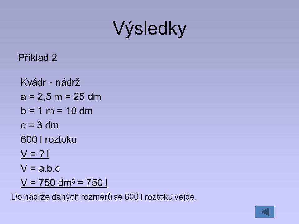 Výsledky Příklad 2 Kvádr - nádrž a = 2,5 m = 25 dm b = 1 m = 10 dm c = 3 dm 600 l roztoku V = ? l V = a.b.c V = 750 dm 3 = 750 l Do nádrže daných rozm