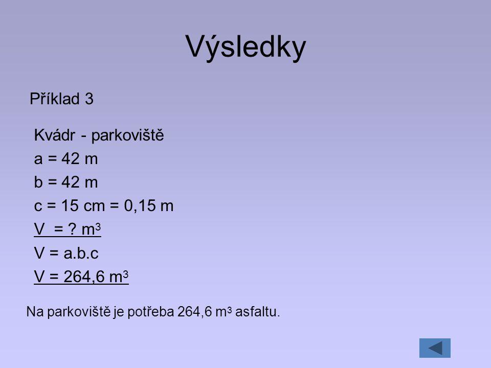 Výsledky Příklad 3 Kvádr - parkoviště a = 42 m b = 42 m c = 15 cm = 0,15 m V = ? m 3 V = a.b.c V = 264,6 m 3 Na parkoviště je potřeba 264,6 m 3 asfalt