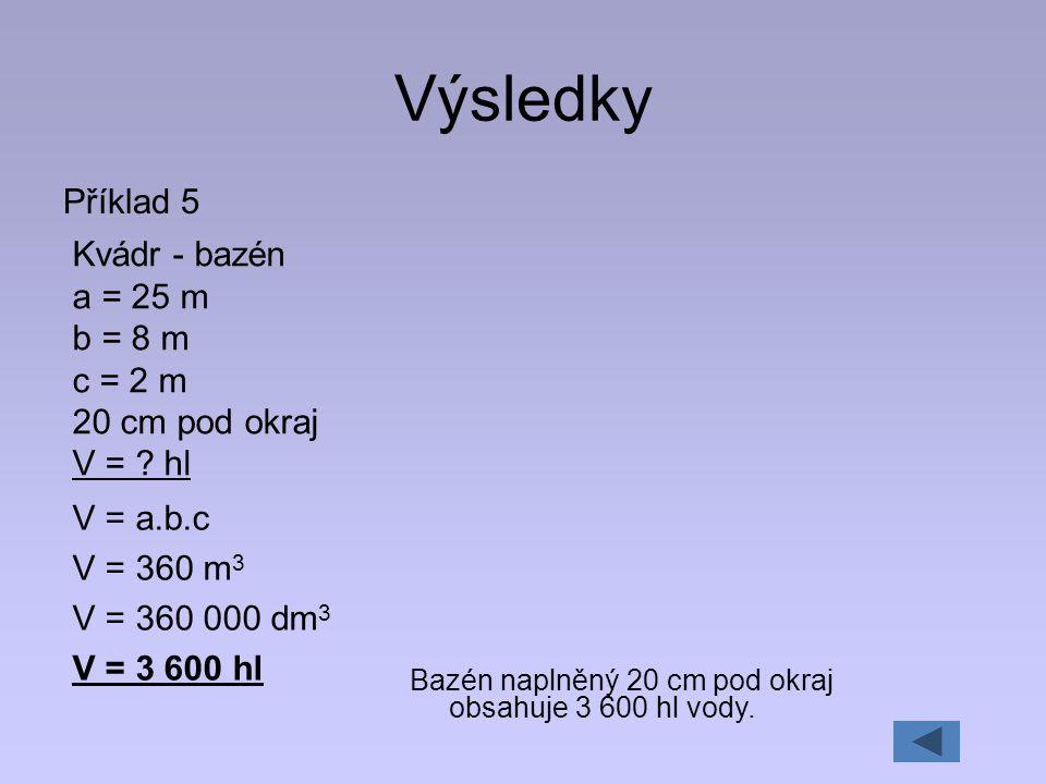 Výsledky Příklad 5 Kvádr - bazén a = 25 m b = 8 m c = 2 m 20 cm pod okraj V = ? hl V = a.b.c V = 360 m 3 V = 360 000 dm 3 V = 3 600 hl Bazén naplněný