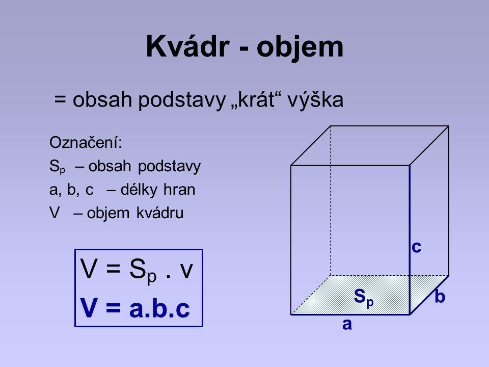 """Kvádr - objem = obsah podstavy """"krát"""" výška Označení: S p – obsah podstavy a, b, c – délky hran V – objem kvádru V = S p. v V = a.b.c c b a SpSp"""