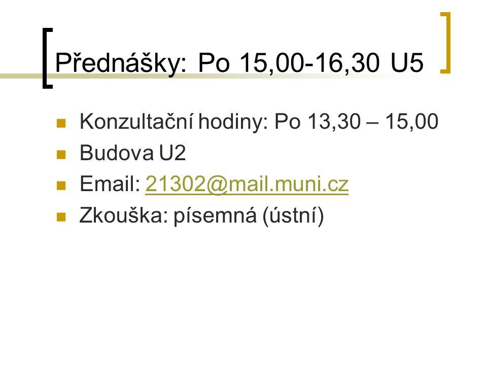 Přednášky: Po 15,00-16,30 U5 Konzultační hodiny: Po 13,30 – 15,00 Budova U2 Email: 21302@mail.muni.cz21302@mail.muni.cz Zkouška: písemná (ústní)