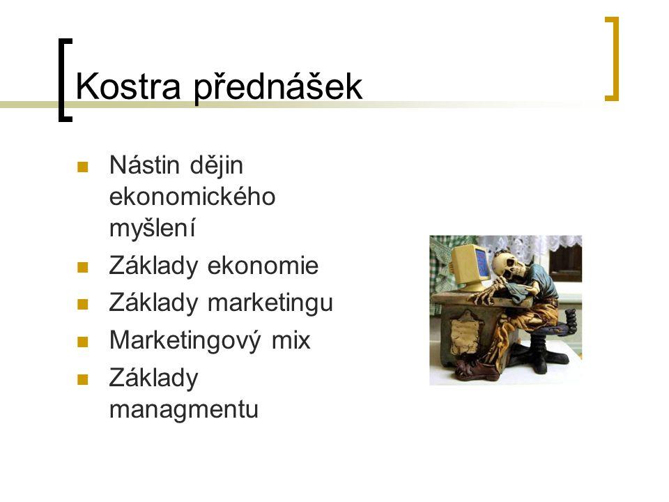 Kostra přednášek Nástin dějin ekonomického myšlení Základy ekonomie Základy marketingu Marketingový mix Základy managmentu