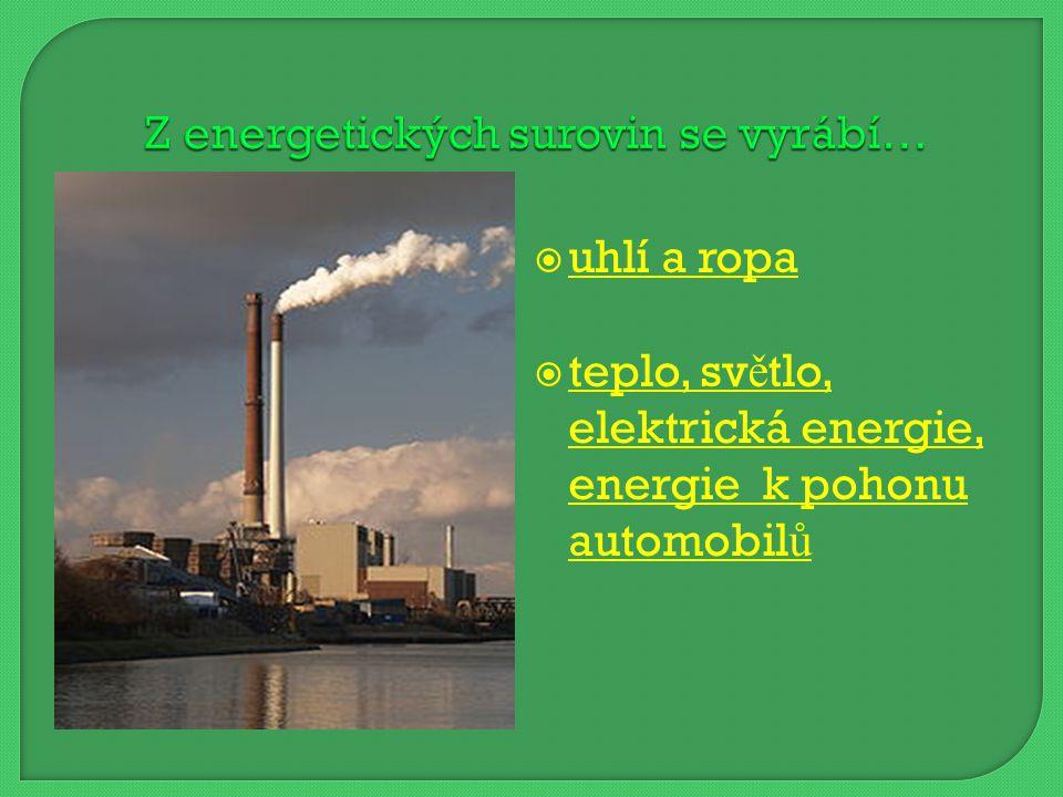  uhlí a ropa uhlí a ropa  teplo, světlo, elektrická energie, energie k pohonu automobilů teplo, světlo, elektrická energie, energie k pohonu automobilů