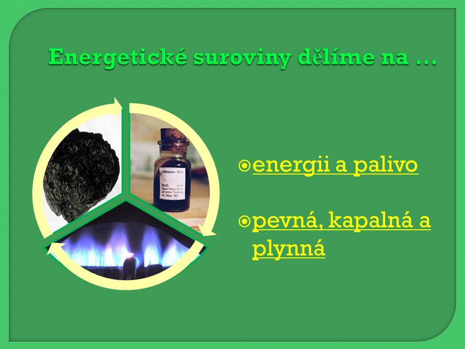  energii a palivo energii a palivo  pevná, kapalná a plynná pevná, kapalná a plynná